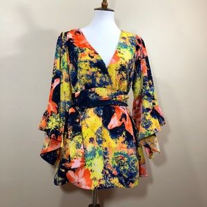 Betsey Johnson Floral Bell Sleeve Blouse